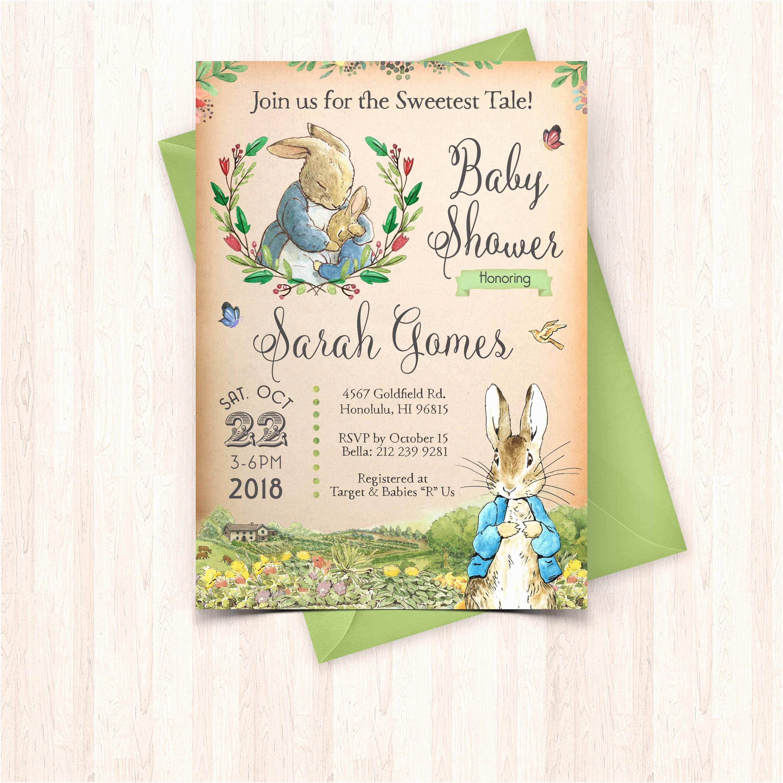 Peter Rabbit Baby Shower Invitations Printable Peter Rabbit Baby Baby Shower Invitation & Free