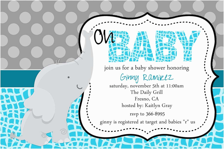 Photo Baby Shower Invitations Baby Elephant Baby Shower Invitations