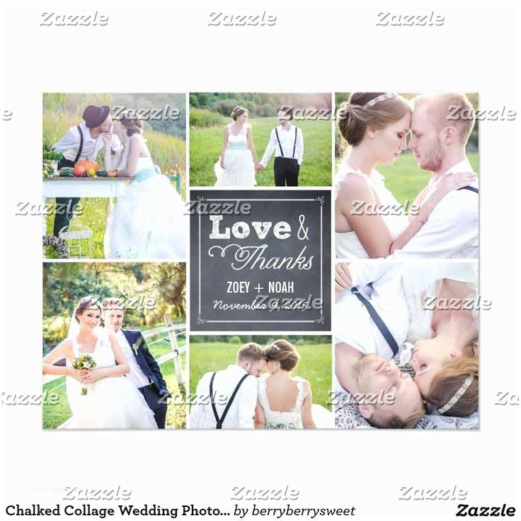 Photo Collage Wedding Invitations Chalked Collage Wedding Thank You Card