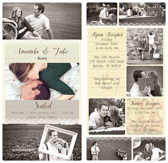 Photo Collage Wedding Invitations Items Similar to Vintage Collage Design Custom