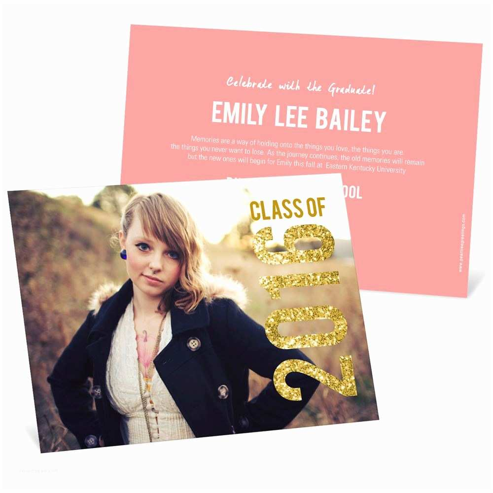 Photo Graduation Invitations Glam Grad Horizontal
