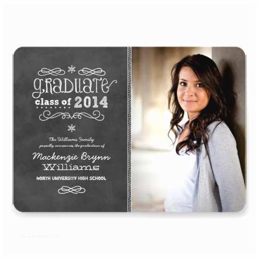 Photo Graduation Invitations Personalized Chalkboard Graduation Invitations