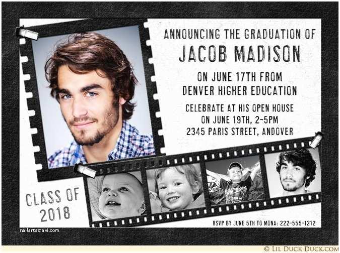 Photo Graduation Invitations Strip Graduation Announcement Invitation 2018