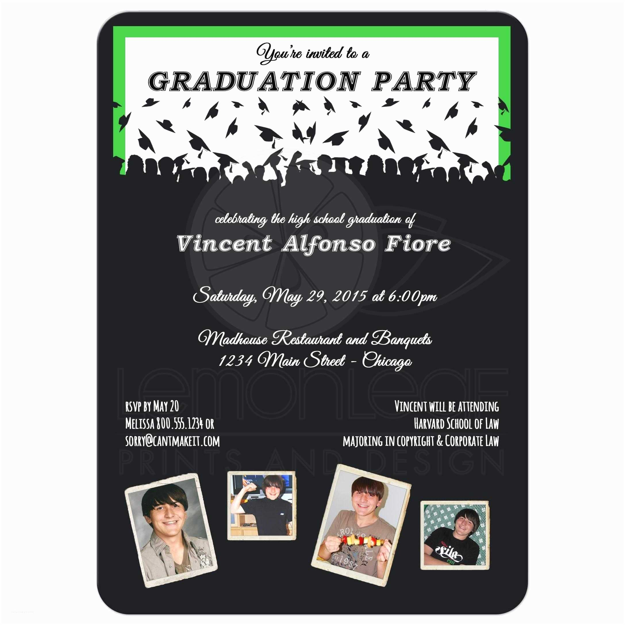 Photo Graduation Party Invitations Cute Black and Green Silhouette Graduation Party