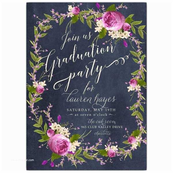 Photo Graduation Party Invitations Floral Bouquet Wreath Blue Chalk Graduation Party