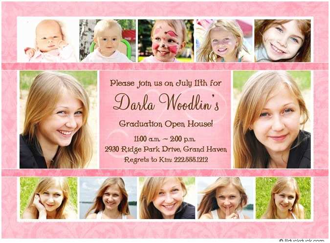 pink photo collage open house invitation