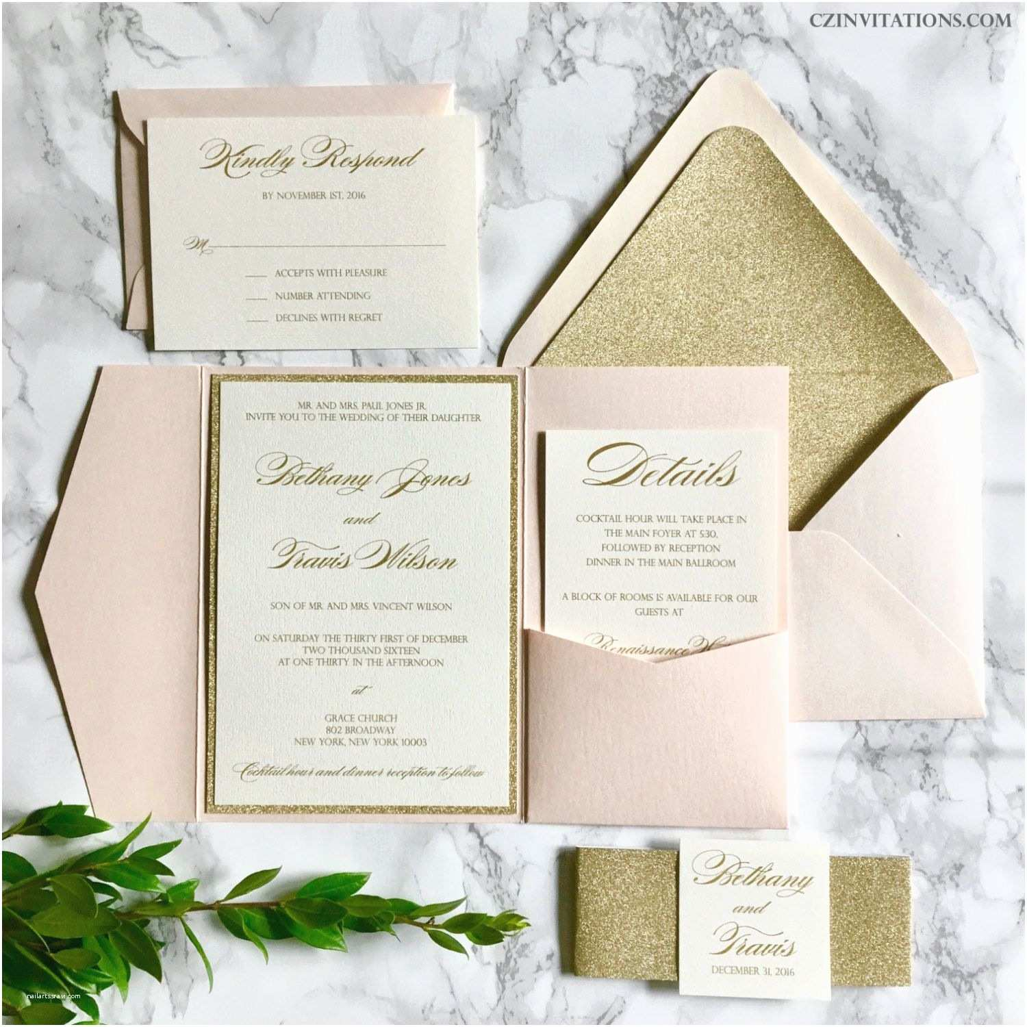 Photo Wedding Invitations Blush and Gold Glitter Pocket Wedding Invitations by