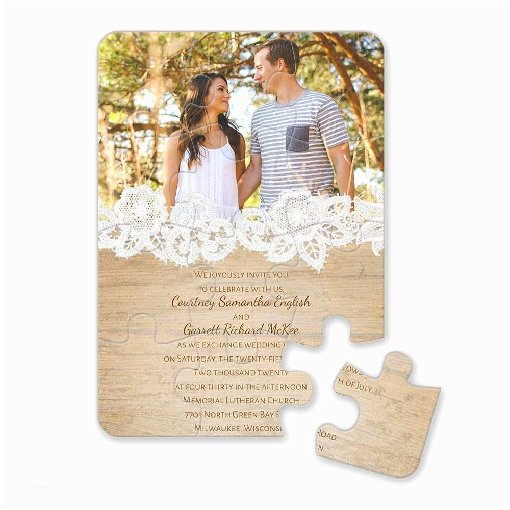 Picture Wedding Invitations Wood and Lace Puzzle Invitation