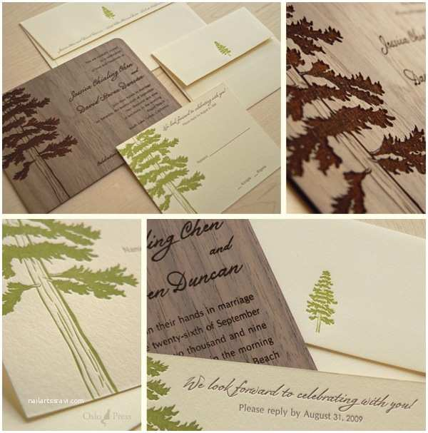 Pine Wedding Invitations All forever after 147 Wooden Stationary