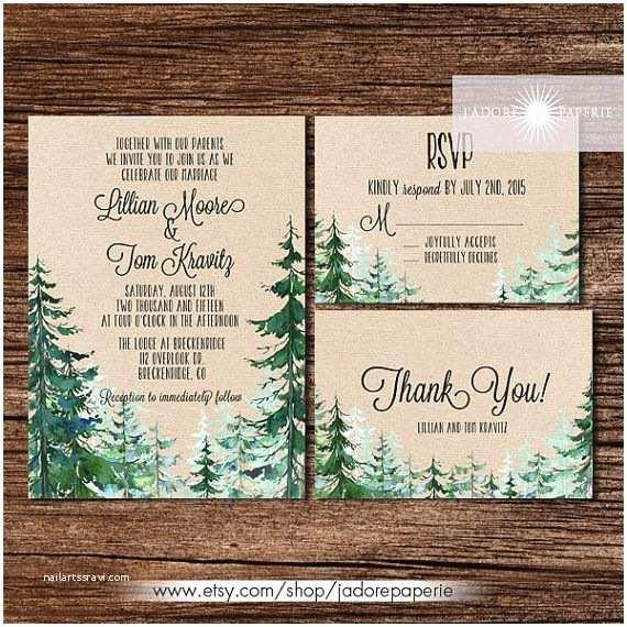 Pine Wedding Invitations Forest Wedding Invitation Rustic Watercolor Tree