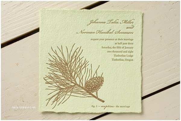 Pine Wedding Invitations Pine Cone Wedding Invitation Rustic Wedding