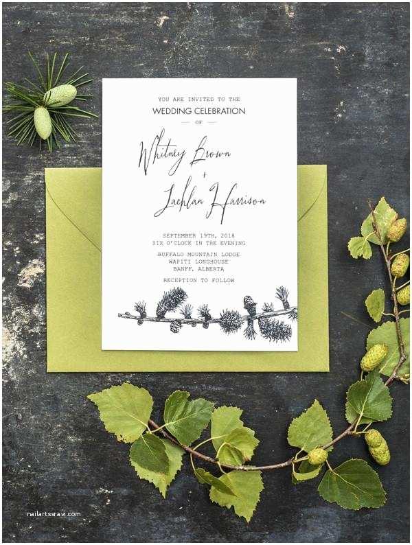Pine Wedding Invitations Pine Tree Wedding Invitation 3 Eggs
