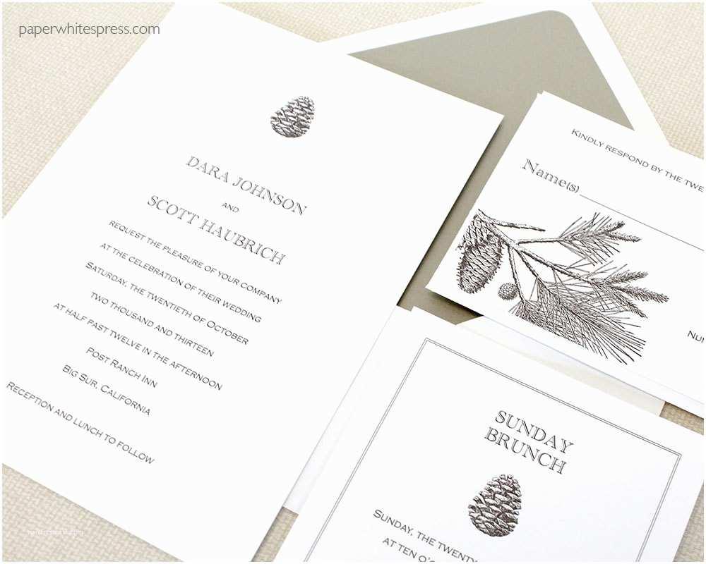 Pine Wedding Invitations Pinecone Wedding Invitations Pine Tree Wedding Invitations