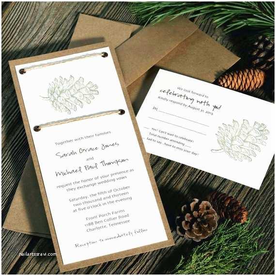 Pine Wedding Invitations Pinecone Wedding Invitations Rustic Wedding Chic