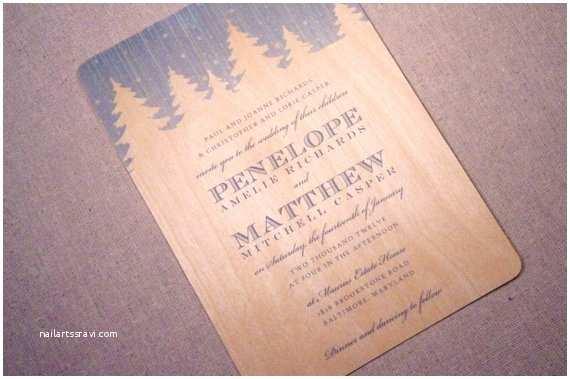Pine Wedding Invitations Real Wood Wedding Invitations Snowy Pine
