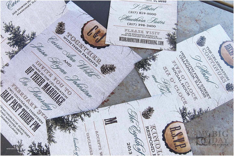 Pine Wedding Invitations Rustic Burlap Wood and Pine Cones Winter Wedding Invitation