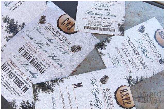 Pine Wedding Invitations Rustic Burlap Wood and Pine Cones Winter Wedding