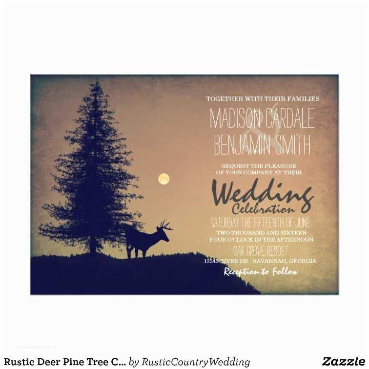 Pine Wedding Invitations Rustic Deer Pine Tree Country Wedding Invitations