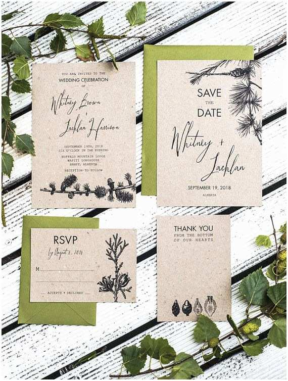 Pine Wedding Invitations Rustic Pine Tree Wedding Invitation Set Of 4