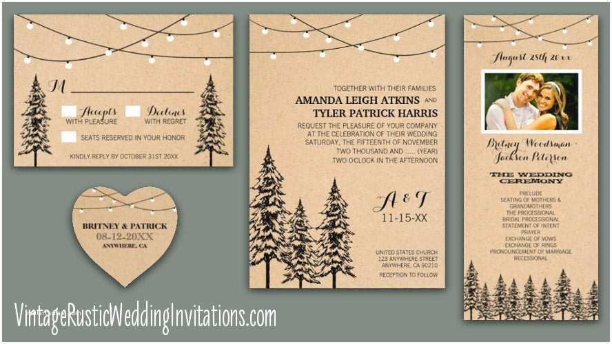 Pine Wedding Invitations Tree Wedding Invitations Page 2 Of 2 Vintage