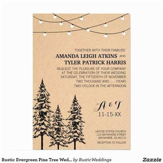 Pine Wedding Invitations Tree Wedding Invitations Tree Wedding and Pine Tree On