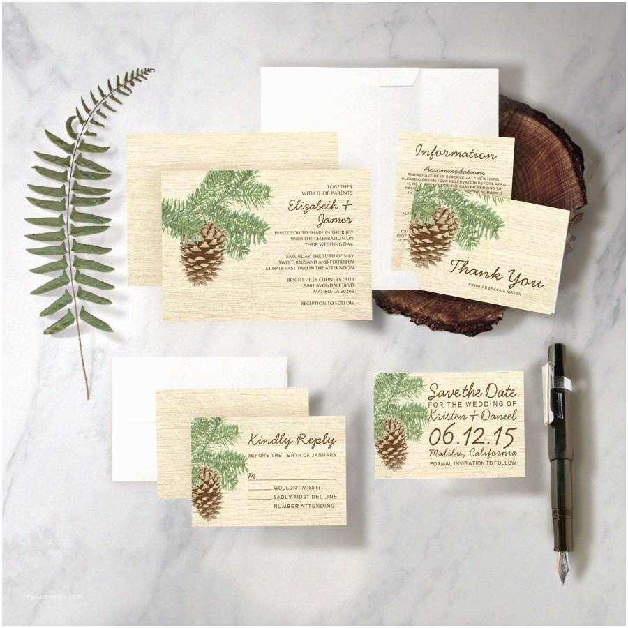 Pine Wedding Invitations Vintage Pine Cone Wedding Invitation Set Suite Printed