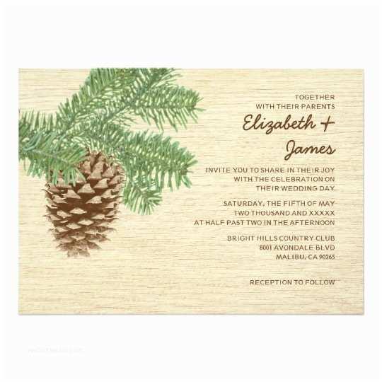 Pine Wedding Invitations Vintage Pine Cone Wedding Invitations
