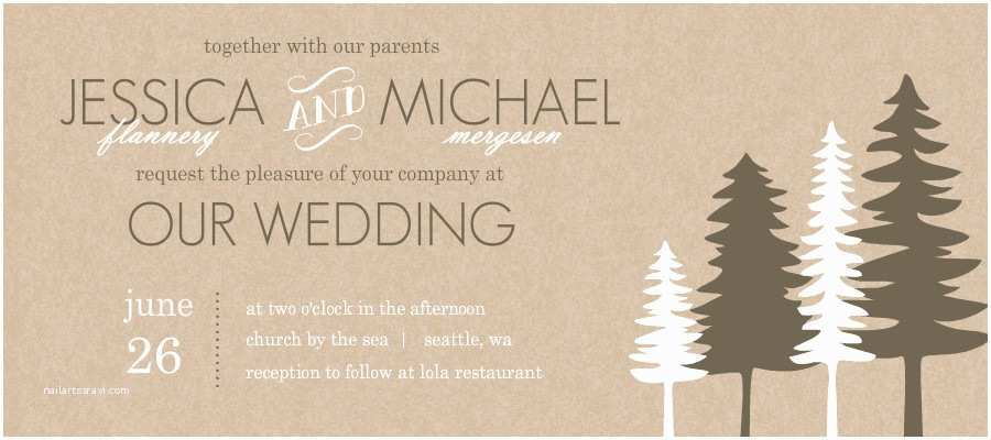Pine Wedding Invitations Wedding Invitations Rustic Pine Trees Wedding Invitation
