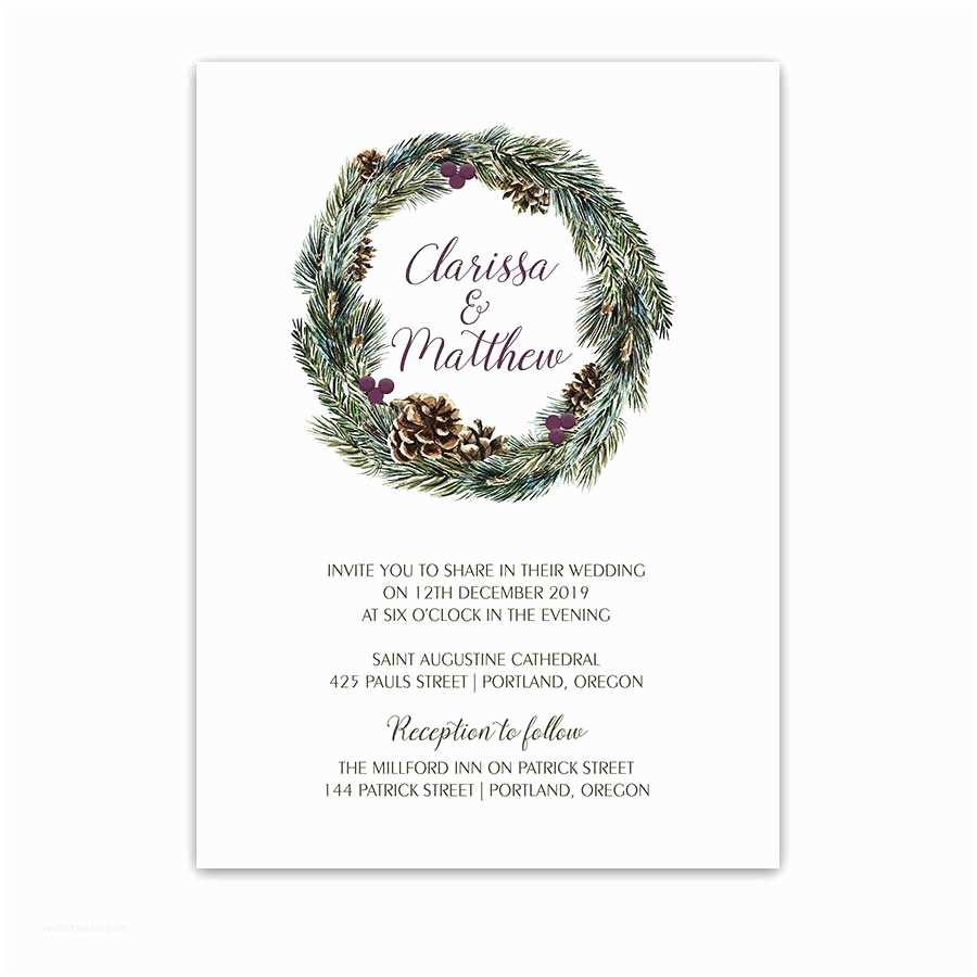 Pine Wedding Invitations Winter Greenery Wedding Invitations Pine Cone