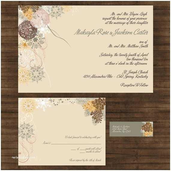 Pine Wedding Invitations Winter Wedding Invitation Suite Pine Cones And Fir