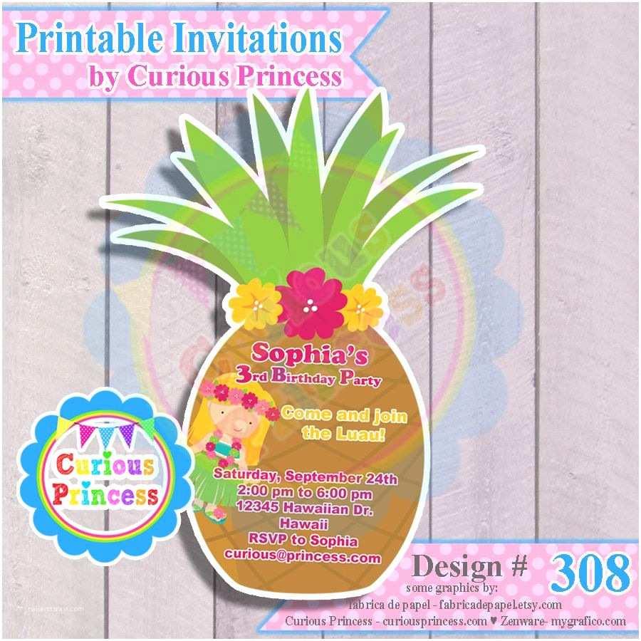 Pineapple Party Invitations 308 Pineapple Shaped Invitations for Hawaiian Luau Party