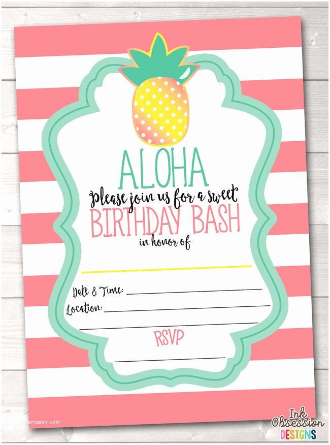 Pineapple Party Invitations Aloha Pineapple Printable Birthday Party Invitation Pink