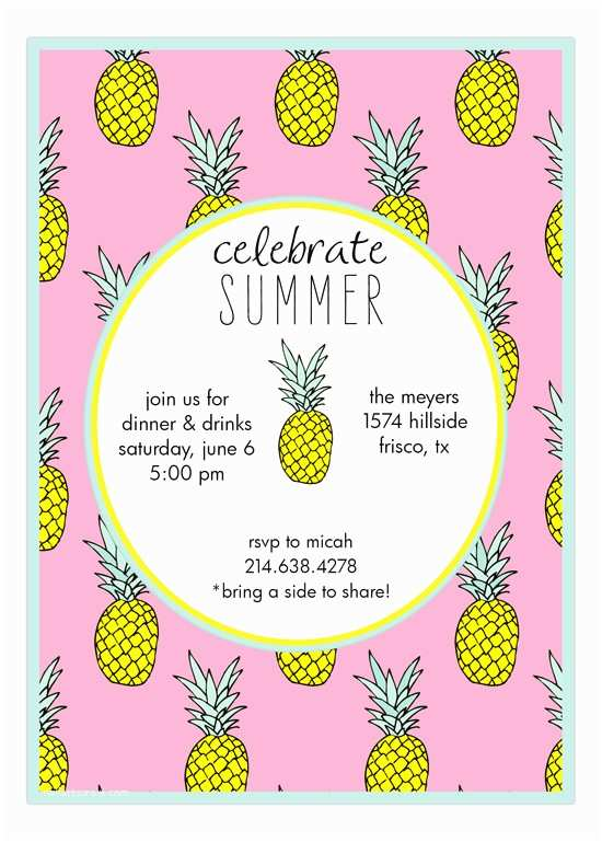 Pineapple Party Invitations End Of Summer Invitations