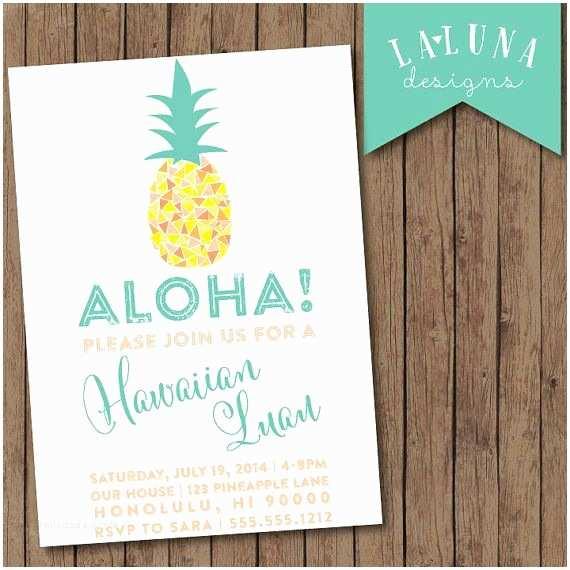 Pineapple Party Invitations Hawaiian Luau Invitation Luau Party Pineapple Invitation