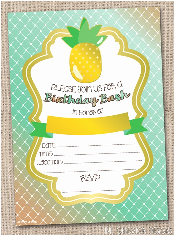 Pineapple Party Invitations Ink Obsession Designs