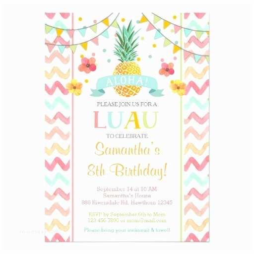 Pineapple Party Invitations Luau Birthday Invitation Pineapple Invitation