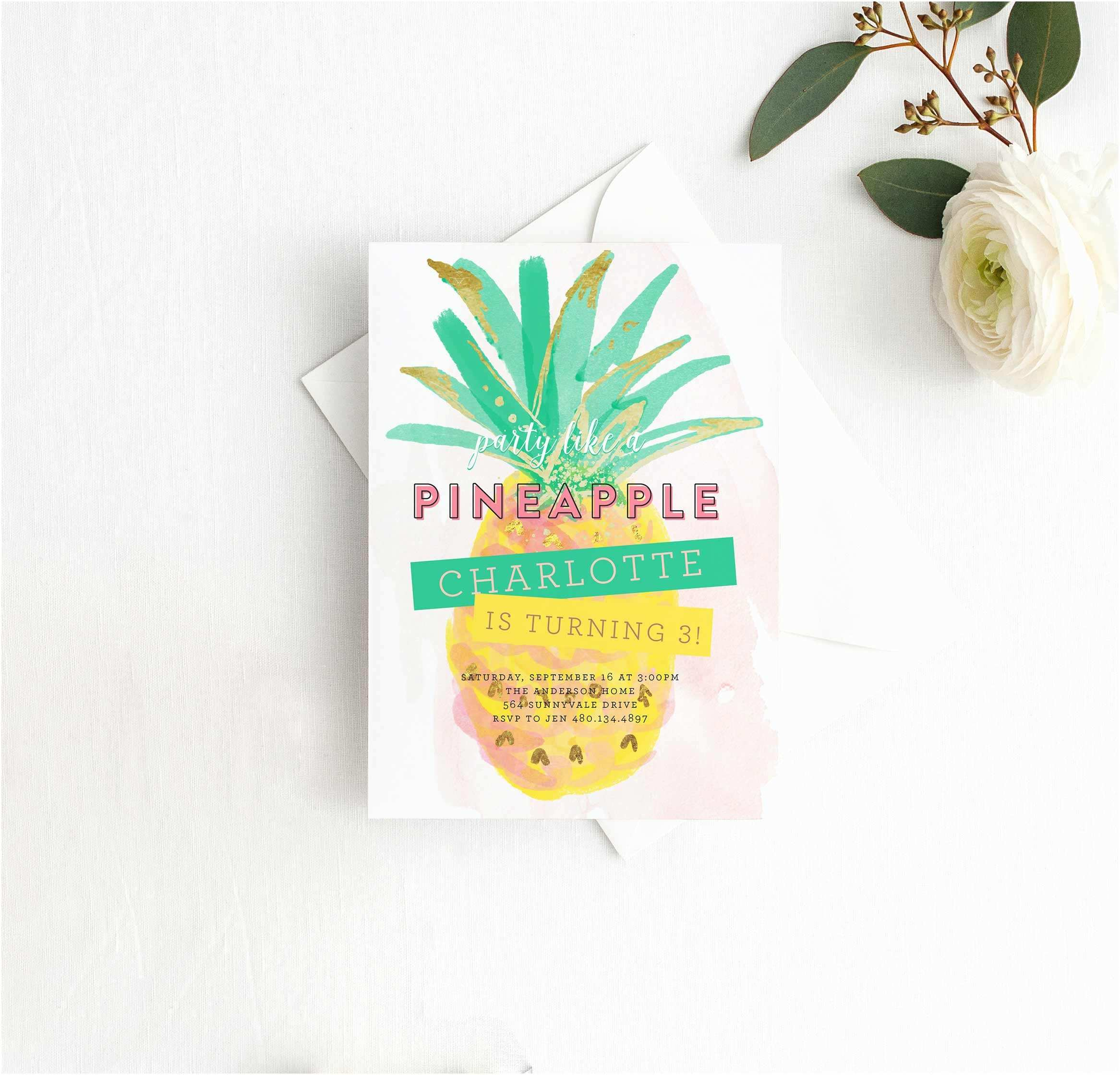 Pineapple Party Invitations Party Like A Pineapple Birthday Party Invitation