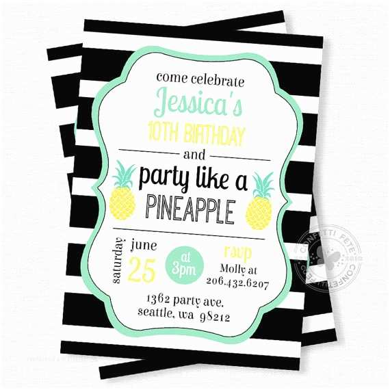 Pineapple Party Invitations Pineapple Birthday Invitation Party Like A Pineapple
