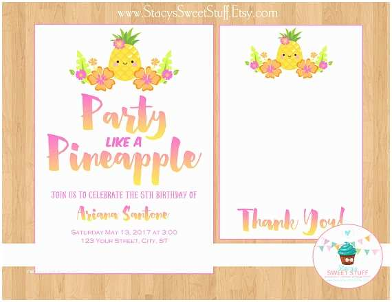 Pineapple Party Invitations Pineapple Birthday Invitation Pink Party Like A