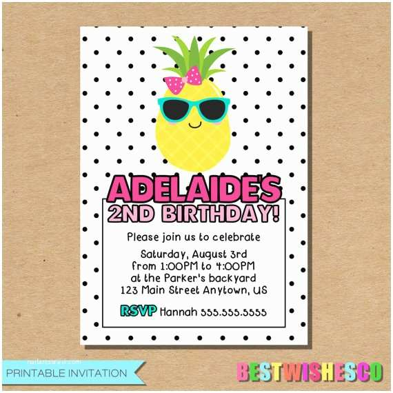 Pineapple Party Invitations Pineapple Birthday Invitation Summer Birthday Invitation