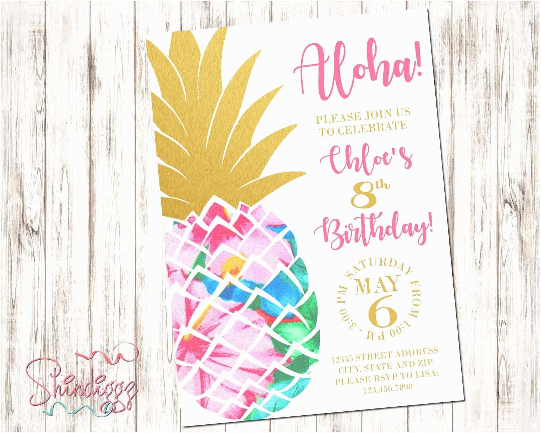 Pineapple Party Invitations Pineapple Birthday Invitation Tropical Birthday Aloha