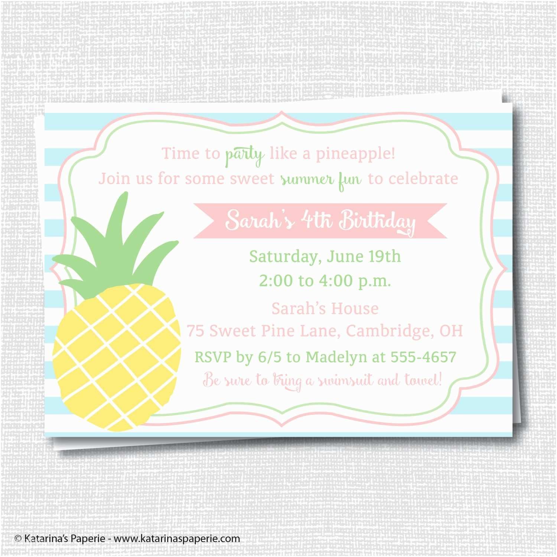 Pineapple Party Invitations Pineapple Birthday Party Invitation Pineapple themed