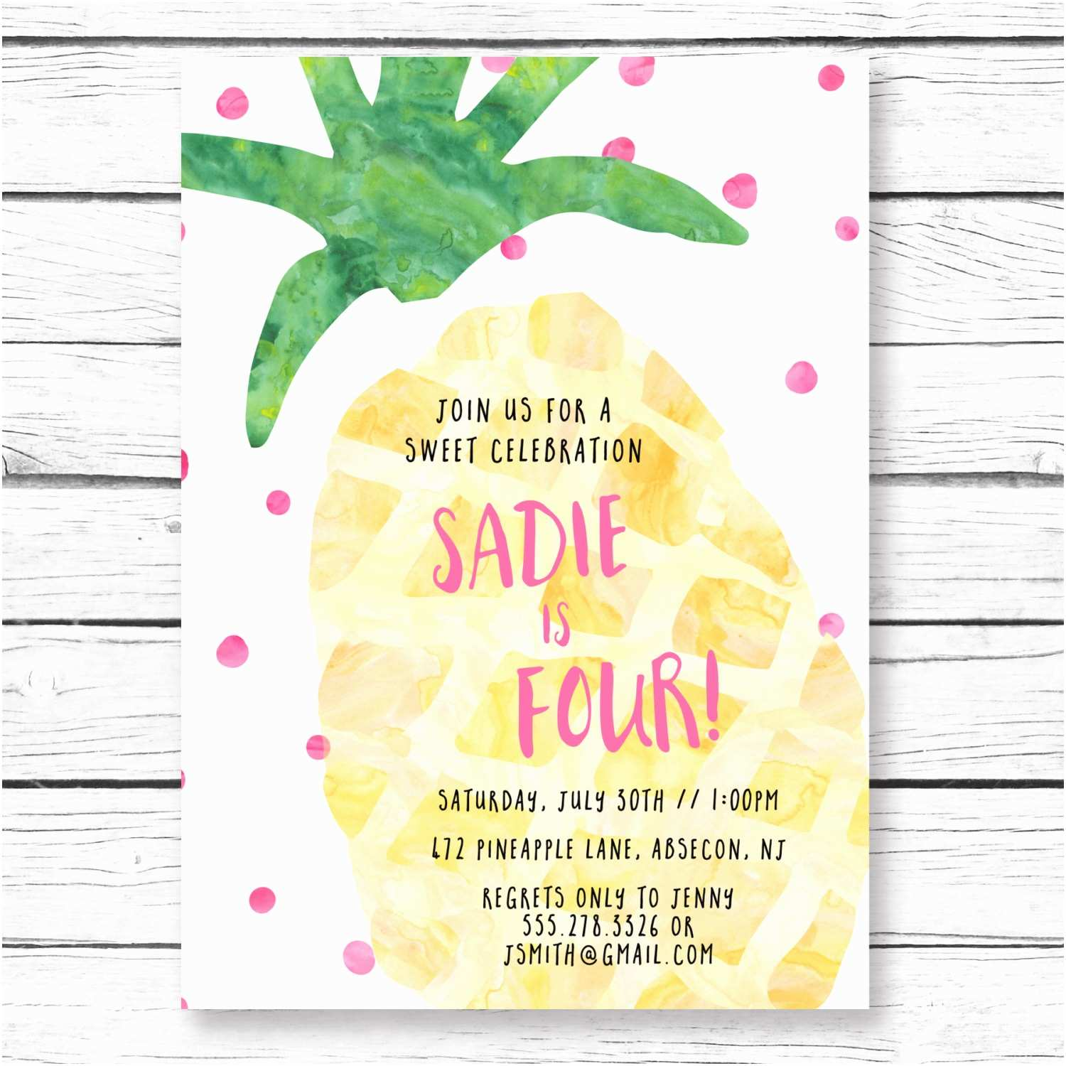 Pineapple Party Invitations Pineapple Birthday Party Invitation Tropical by