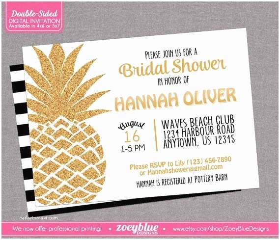 Pineapple Party Invitations Pineapple Bridal Shower Invitation Hawaiian Luau Baby