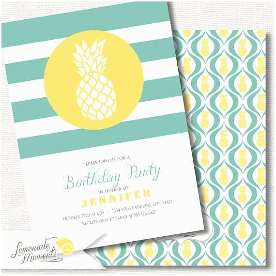 Pineapple Party Invitations Pineapple Invitation Birthday Party by Lemonademoments