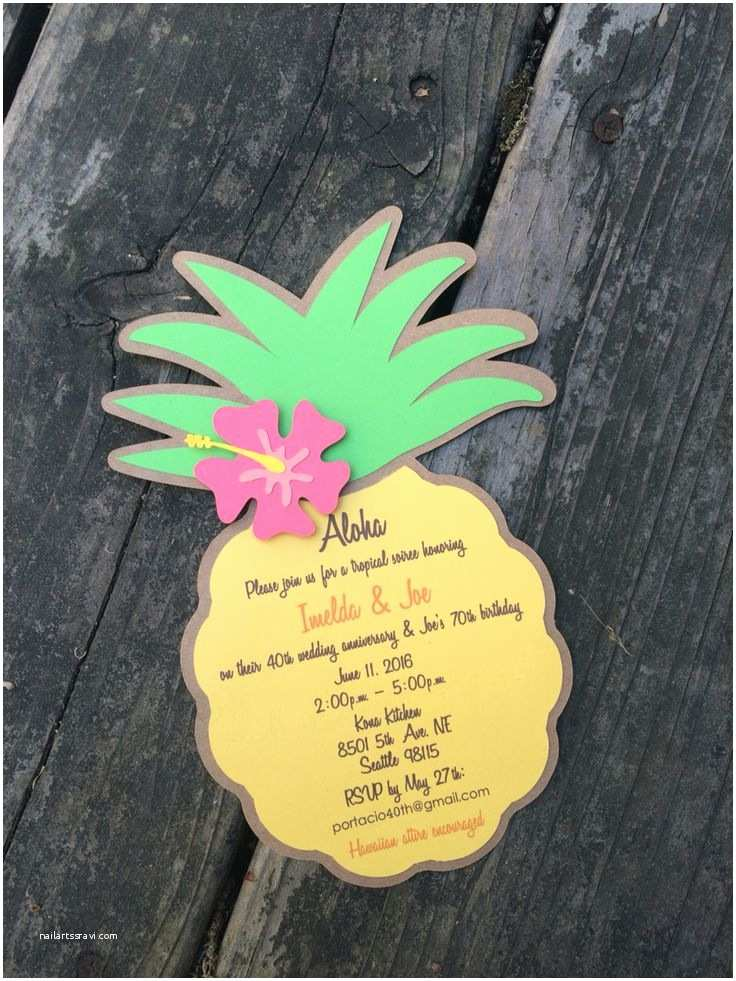 Pineapple Party Invitations Pineapple Invitation Made by J & J Pinterest