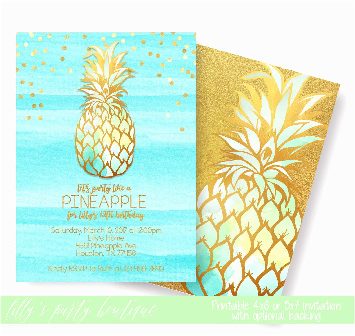 Pineapple Party Invitations Pineapple Invitation Party Like A Pineapple Aloha Pineapple