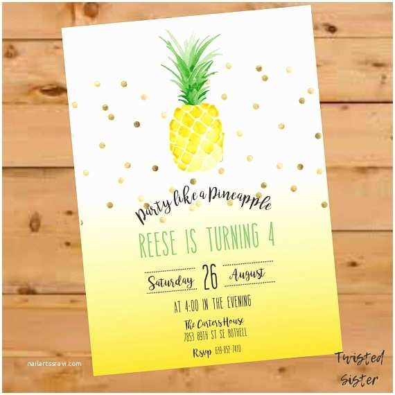 Pineapple Party Invitations Pineapple Invitation Pineapple Birthday Invitation