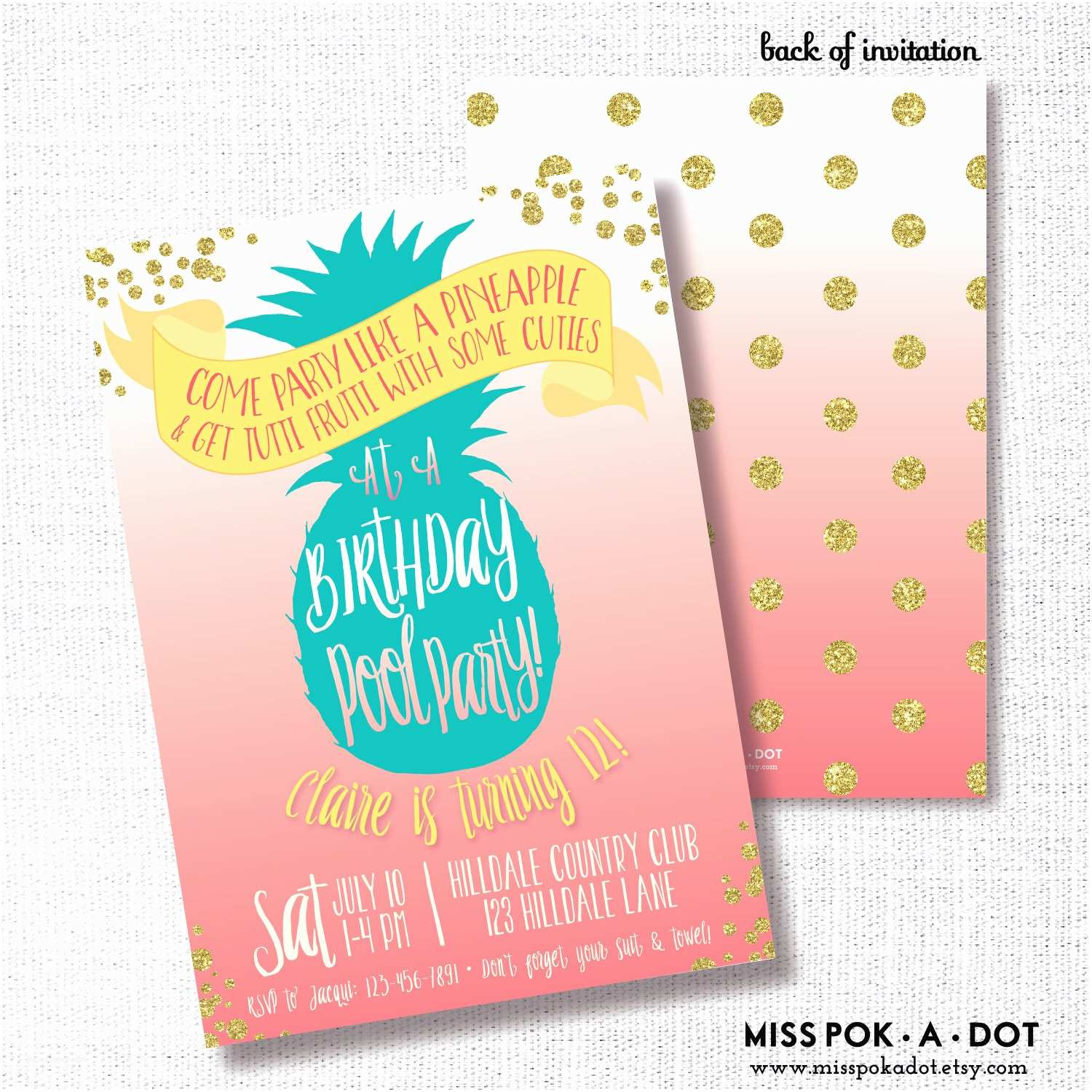 Pineapple Party Invitations Pineapple Pool Party Birthday Invitation Pink Coral by