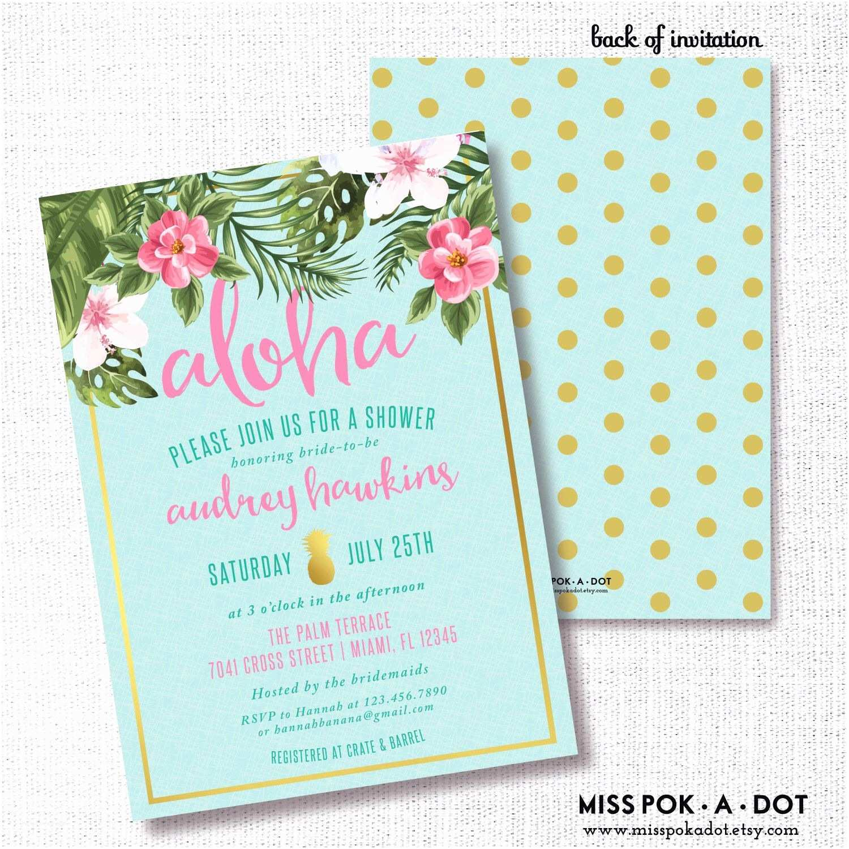 Pineapple Party Invitations Tropical Flower Pineapple Bridal Shower Invitation Luau